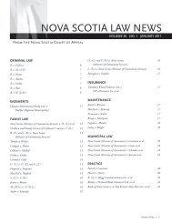 Nova Scotia Law News, Volume 36 No. 1, January 2011