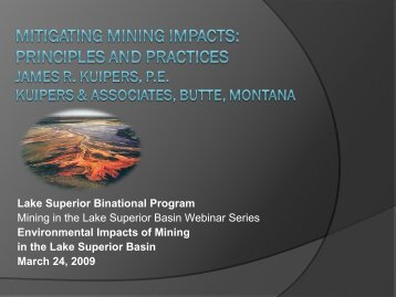 Mitigating Mining Impacts: Principles and Practices James R ...
