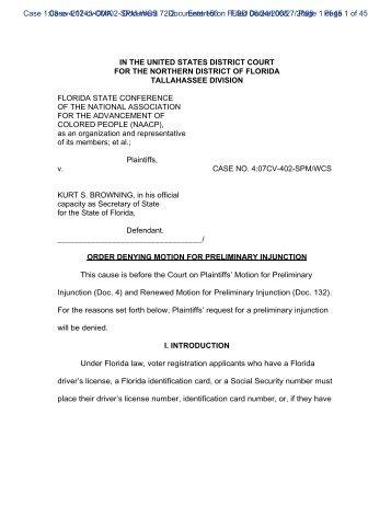 Order Denying Motion for Preliminary Injunction - Brennan Center ...