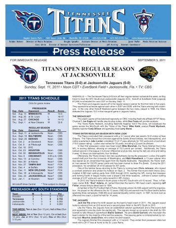 TITANS OPEN REGULAR SEASON AT JACKSONVILLE - NFL.com