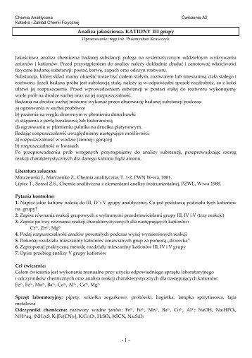 Analiza jakościowa_A2_kationy_gr_III - Katedra i Zakład Chemii ...