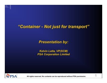 """Container - Not just for transport"""