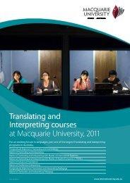 Translating and Interpreting courses at Macquarie University, 2011