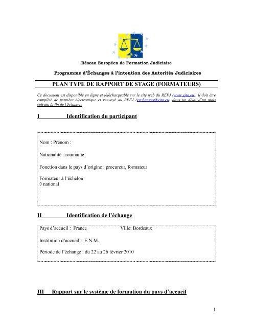 Plan Type De Rapport De Stage Formateurs I Ejtn