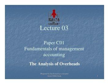 Lecture 03 - Malta Institute of Management