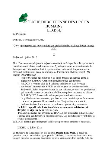 Pré-rapport sur les violations des droits humains - Arhotabba.com