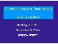 Decision Support Tools Matrix: Status Update - Federal Remediation ...