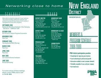 PMA of New England Schedule