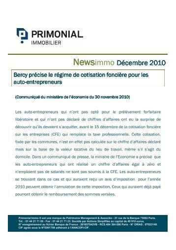 News PrimonialImmo - Décembre 2010 - Primonial Immobilier
