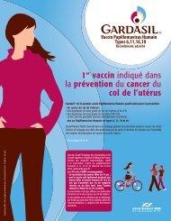 1er vaccin indiqué dans la prévention du cancer du col de l'utérus