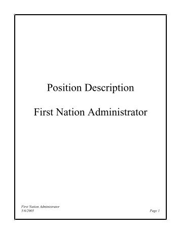 Position Description First Nation Administrator - Department of ...