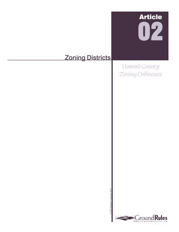 Zoning Districts Howard County Zoning Ordinance Article