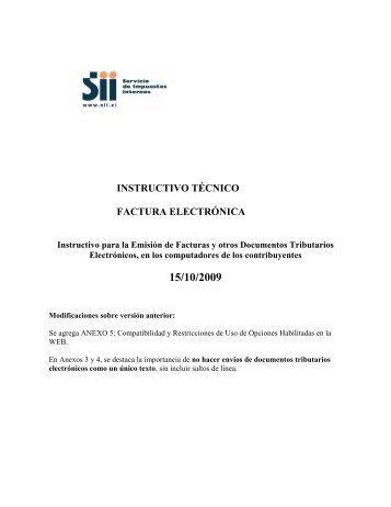 instructivo tecnico factura electronica - Servicio de Impuestos Internos