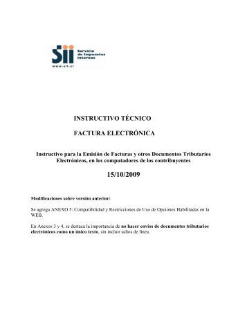 instructivo tecnico factura electronica - Servicio de Impuestos Internos