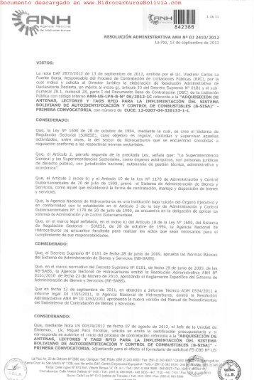 el documento que declara desierto el proceso de contratacion para ...