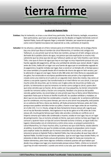 La cárcel del Apóstol Pablo Esteban: Hoy la invitación ... - Tierra Firme