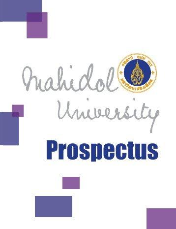 Mahidol University Prospectus