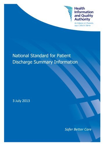 National Standard for Patient Discharge Summary Information - hiqa.ie