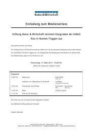 Einladung zum Medienanlass - Natur & Wirtschaft