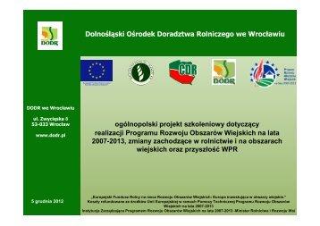 Realizacja Programu Rozwoju Obszarów Wiejskich na lata 2007-2013