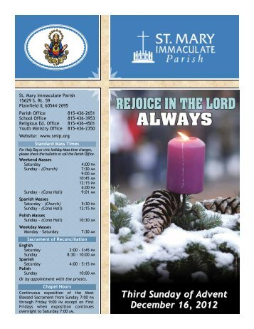 Third Sunday of Advent December 16, 2012 - St Mary Immaculate ...