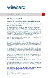 Q1/ 3-Monatsbericht 2012 Wirecard AG startet erfolgreich in das neue