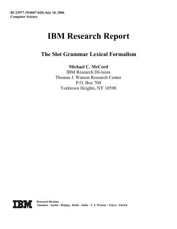 Slot Grammar Lexical Formalism - IBM Research