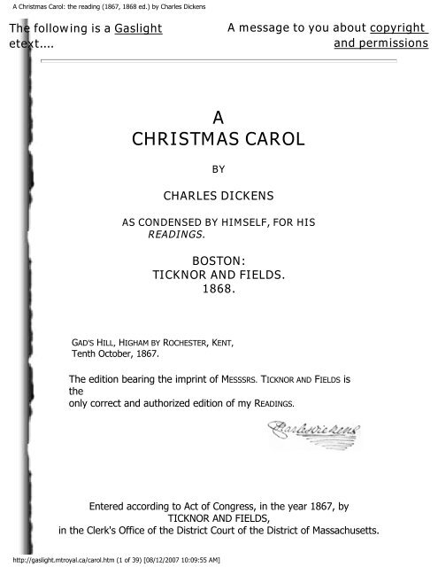 Christmas Readings.A Christmas Carol The Reading 1867 1868 Ed By Charles