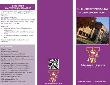 Student Brochure - Missouri Valley College