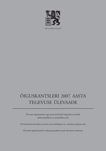 õiguskantsleri 2007. aasta tegevuse ülevaade