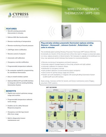 wireless pneumatic thermostat (wpt-100) - Cypress Envirosystems