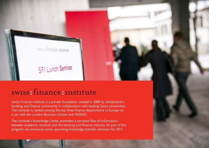 swiss finance institute research papers The 2019 annual meeting of the swiss society for financial market research will be held in zürich on april 5, 2019 prospective contributors are invited to submit papers on all topic areas of finance by october 31, 2018, 2400 cet the submission fee is chf 50  (swiss finance institute,.