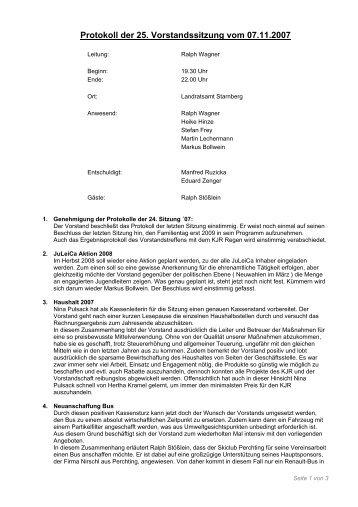 Protokoll der 25. Vorstandssitzung vom 07.11.2007