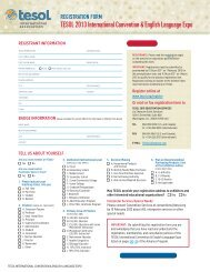 FAX or Mail your registration (PDF) - TESOL