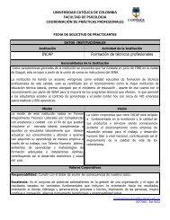 universidad católica de colombia facultad de psicologia ...