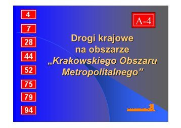 Drogi krajowe na obszarze Krakowskiego Obszaru Metropolitalnego ...