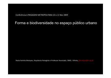 Forma e biodiversidade no espaço público urbano