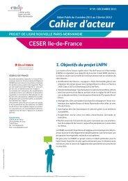 Cahier d'acteur - CESER Ile-de-France