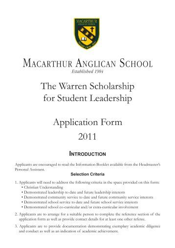 The Warren Scholarship for Student Leadership Application Form ...