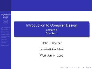 Introduction to Compiler Design - Hampden-Sydney College