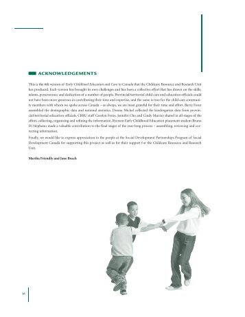 Acknowledgements, Preface, Explanatory Notes - Childcare ...