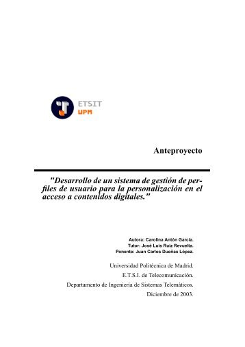 Anteproyecto - Universidad Politécnica de Madrid