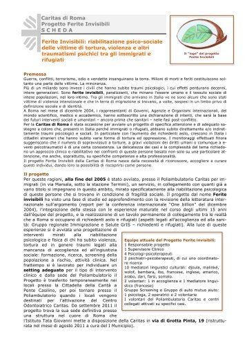 Il progetto Ferite Invisibili - Caritas Roma