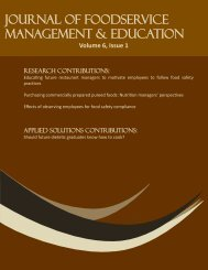 Volume 6, Issue 1 - Foodservice Systems Management