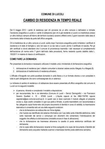 CAMBIO DI RESIDENZA IN TEMPO REALE - Cokrace