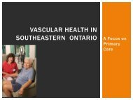 Vascular health in Southeastern ontario - The Stroke Network of ...