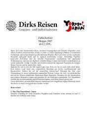 Zubuchertour Shogun 2007 ab €.2.599,- - Dirks Reisen GmbH Co.KG