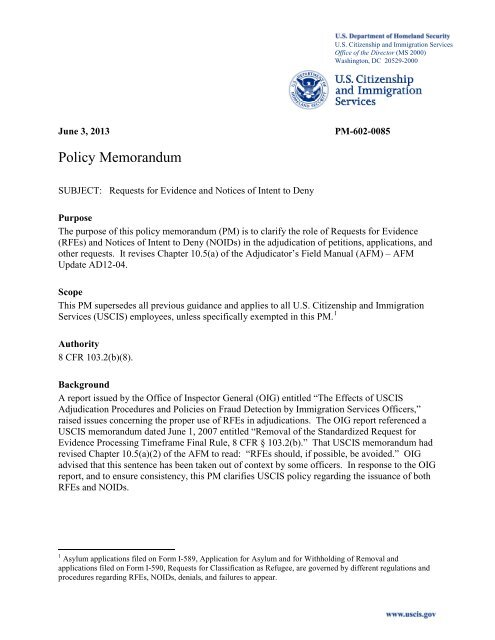 Requests for Evidence and Notices of Intent to Deny - uscis