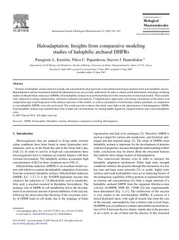 Haloadaptation: Insights from comparative modeling studies of ...