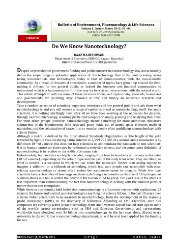 Do We Know Nanotechnology? - Bulletin of Environment ...